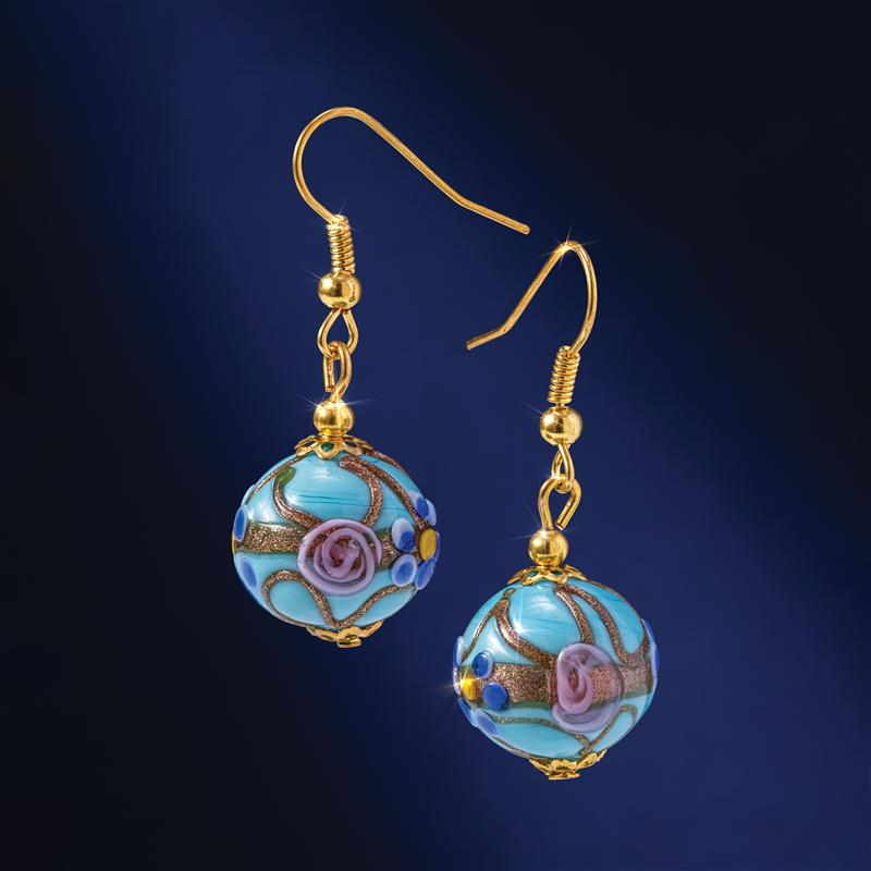 Murano Fiorato Nuziale Aqua Earrings