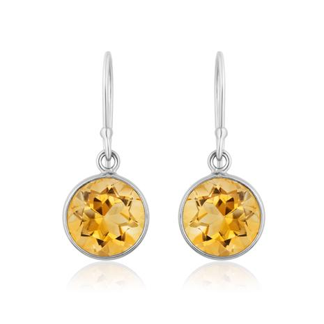Citrine Round Cut Drop Earrings