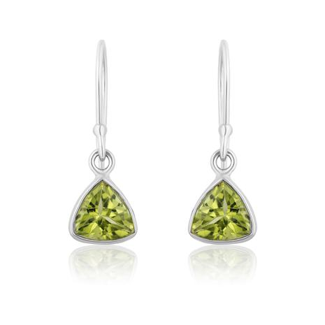 Peridot Trillion Cut Drop Earrings