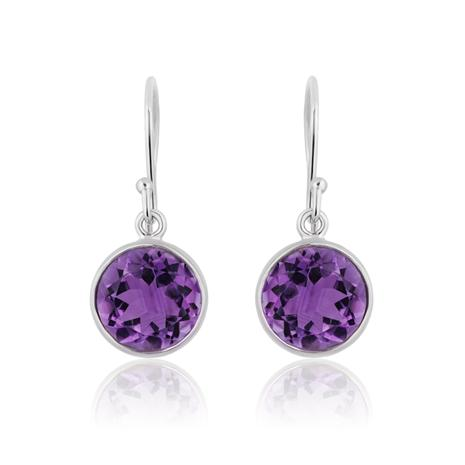 Amethyst Pear Round Top Drop Earrings