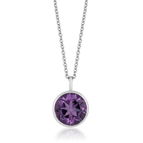 Amethyst Round Cut Drop Pendant Necklace