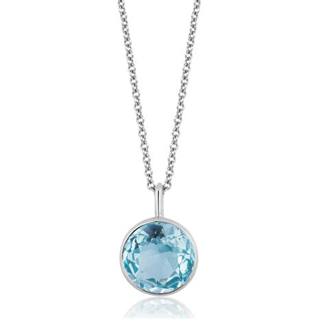Blue Topaz Round Cut Drop Pendant Necklace