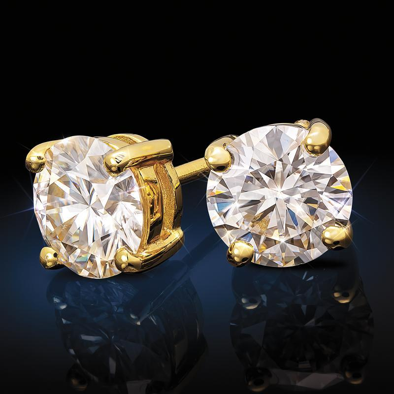 Yellow Gold-Finished Sterling Silver Moissanite Solitaire Earrings (1 ctw)