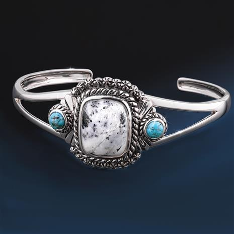 Two Legends White Buffalo & Kingman Turquoise Bangle