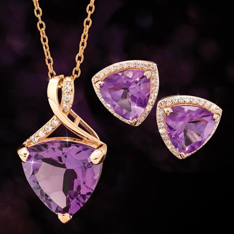 Amethyst Trillion Pendant, Chain & Earrings