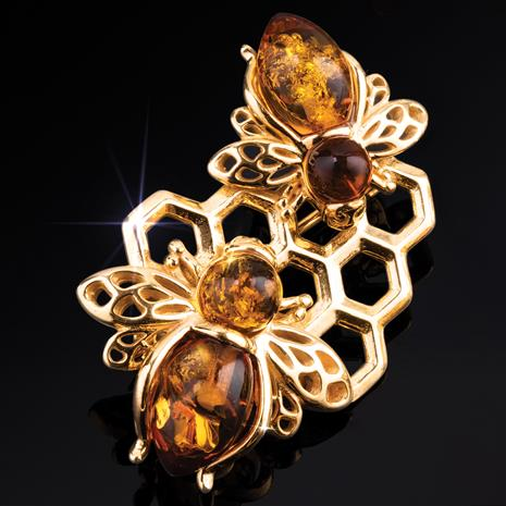 Amber Honeybee Brooch