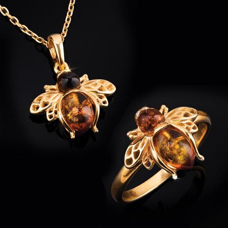 Amber Honeybee Necklace and Ring