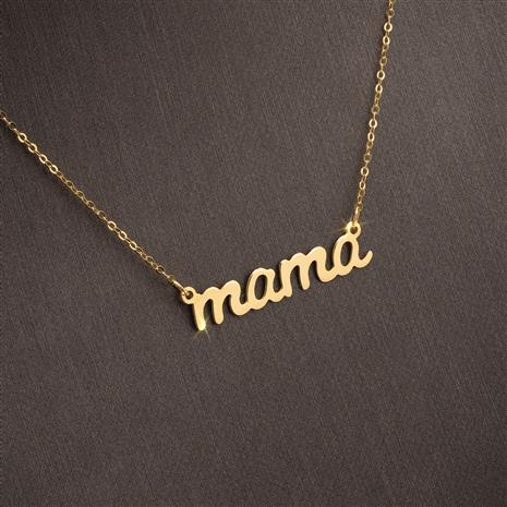 Italian Gold-finished Sterling Silver Mama Necklace