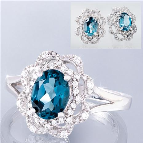 London Blue Topaz Embrace Ring and Earrings