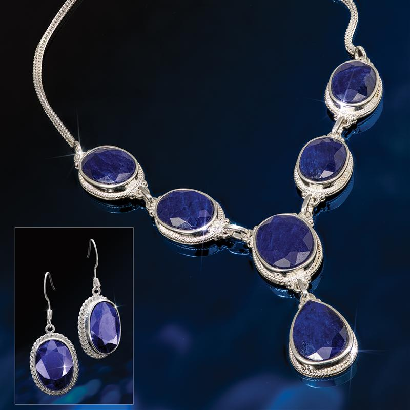 Bengal Blues Sapphire Necklace & Earrings