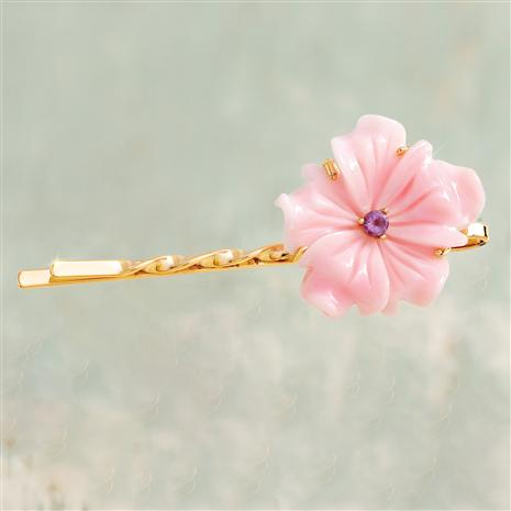 Sakura Pink Conch Shell with Amethyst Hair Pin