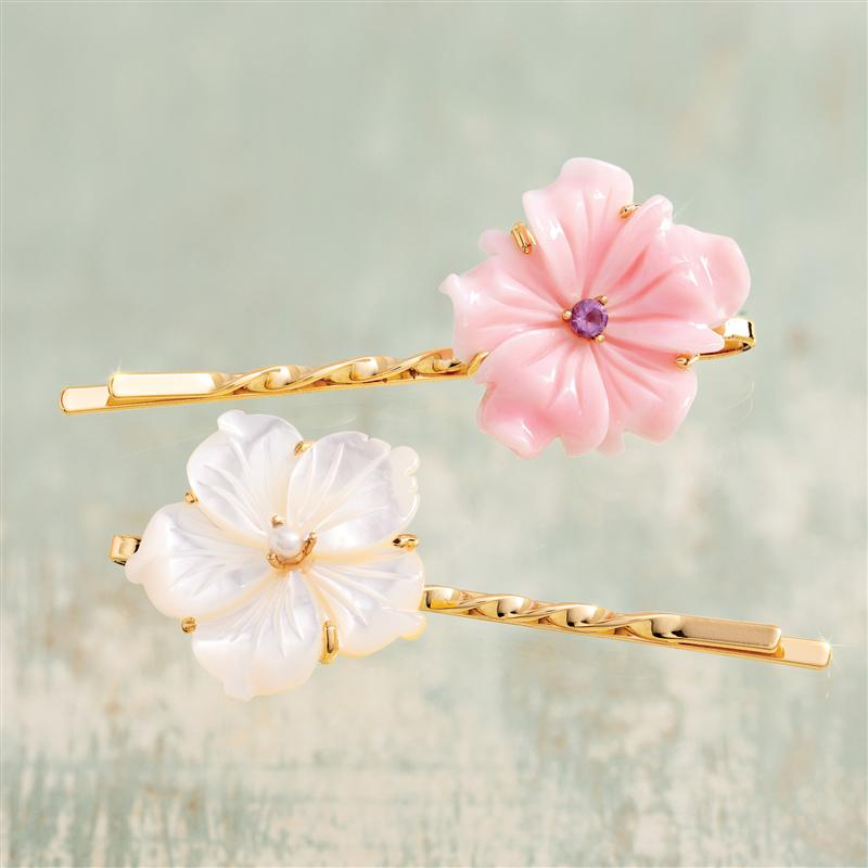 Sakura Pink Conch Shell & Mother of Pearl Clips (Set of 2)