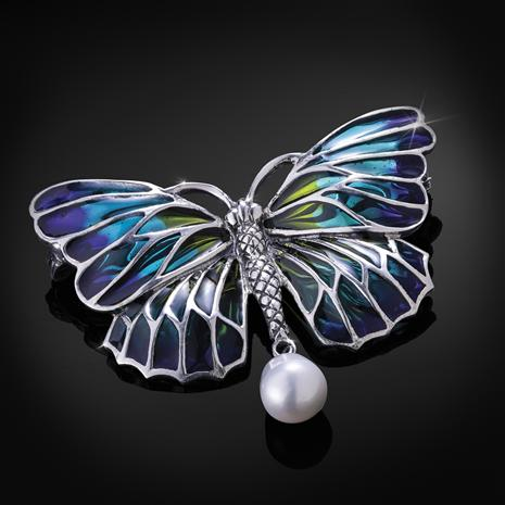 Enchanted Garden Brooch (Freshwater Pearl Butterfly)
