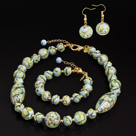 Murano Green Floral Necklace, Bracelet and Earrings Set