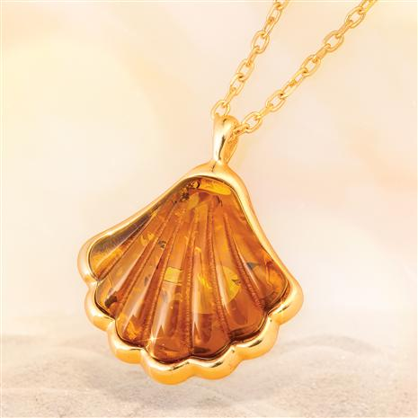 Santiago Amber Shell  Necklace