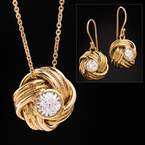 Italian Made Moissanite Knot Necklace and Earrings