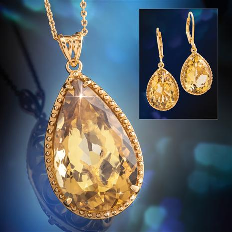 Citrine Sundrop Pendant Chain and Earrings