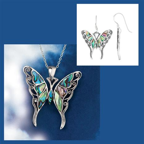 Good Fortune Butterfly Necklace and Earring Set