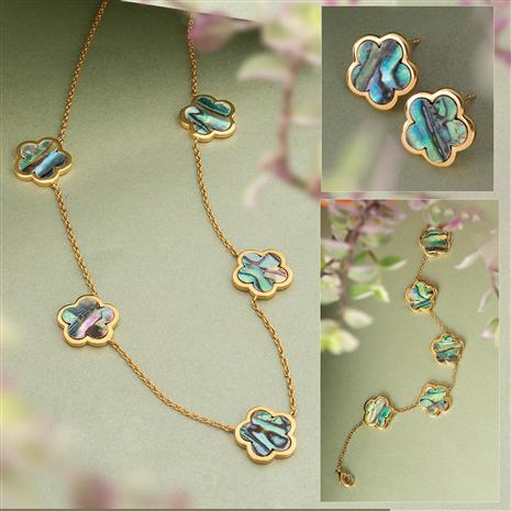 Abalone Flower Necklace, Bracelet and Earrings