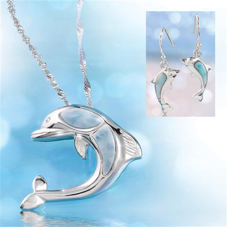 Larimar Dolphin Pendant, Chain and Earrings