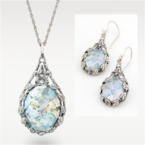 Holy Land Patina Pendant, Chain and Earrings