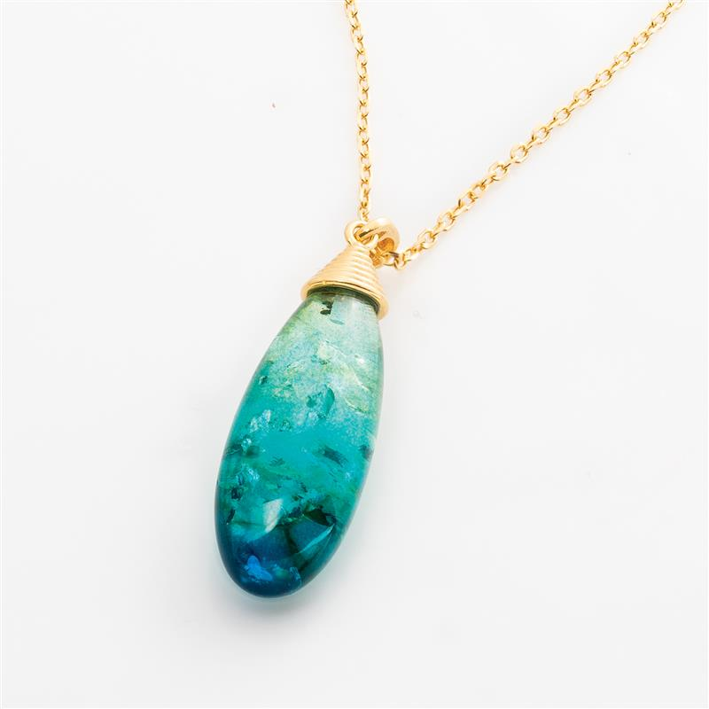 Blue Amber Ombre Necklace