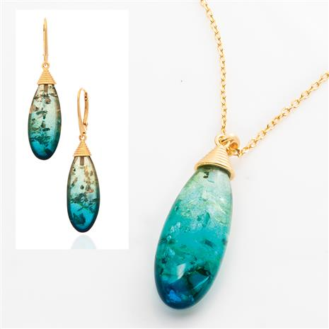 Blue Amber Ombre Necklace and Earrings