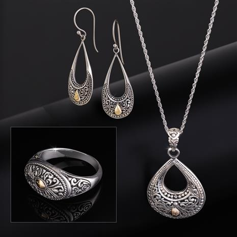 Filigree Collection Pendant, Chain, Earrings & Ring