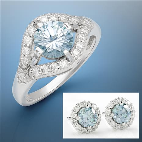 Blue Moissanite Solitaire Ring and Stud Earrings