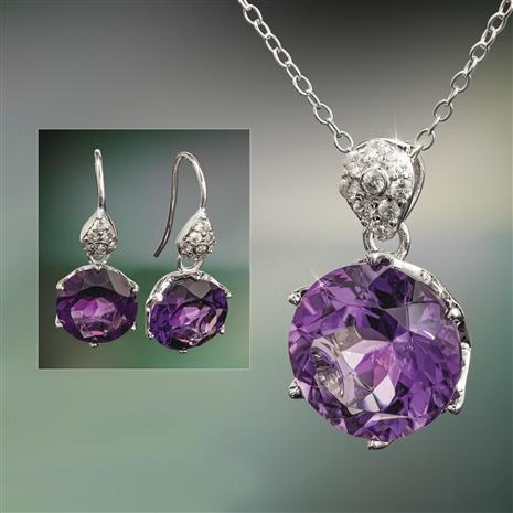 Another Round Amethyst Necklace and Earrings