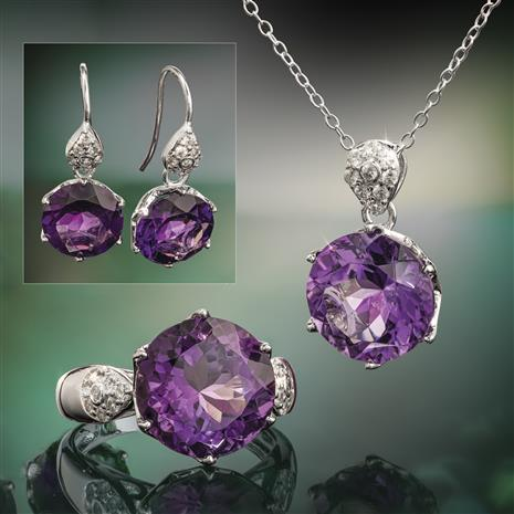 Another Round Amethyst Ring, Necklace and Earrings