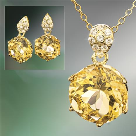 Another Round Citrine Necklace and Earrings