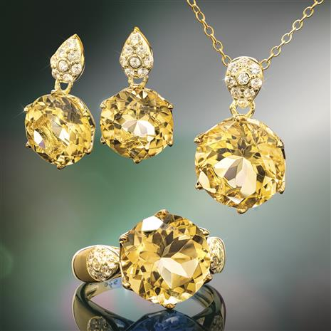 Another Round Citrine Ring, Necklace and Earrings