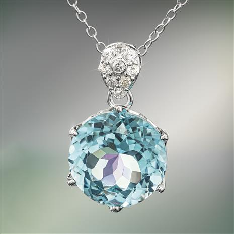 Another Round Blue Topaz Necklace
