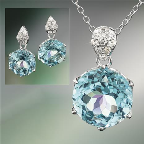 Another Round Blue Topaz Necklace and Earrings