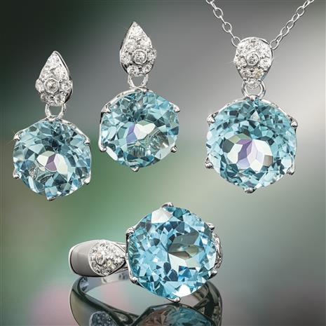 Another Round Blue Topaz Ring, Necklace and Earrings