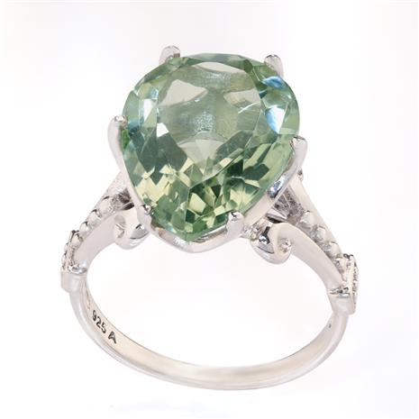 Gemstone Decadence Green Amethyst Pear Cut Ring