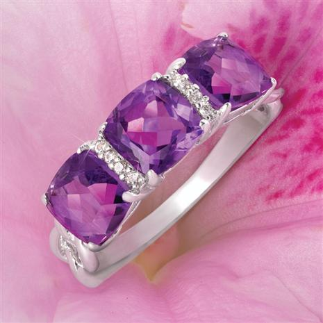 Royal Amethyst Three Stone Ring