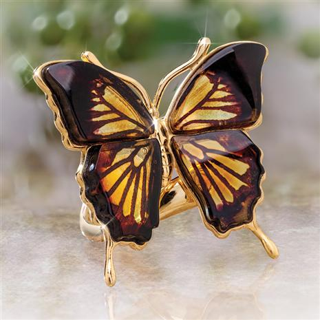 Night & Day Amber Butterfly Ring