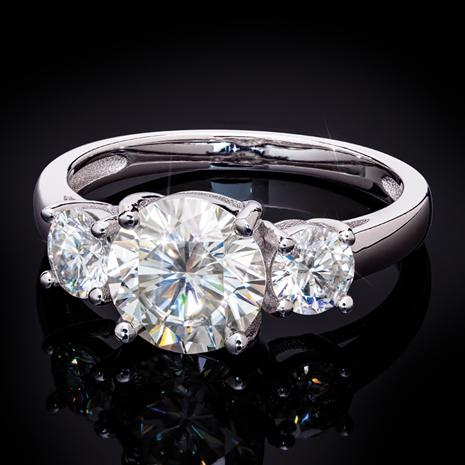 Moissanite Three-Stone Ring