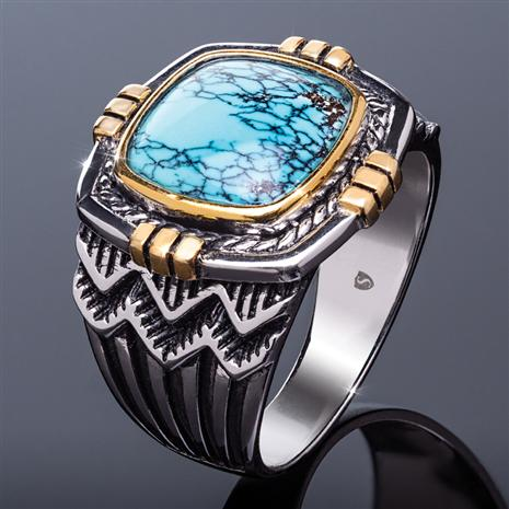 Men's Turquoise Matrix Ring (3 1/2 carat)
