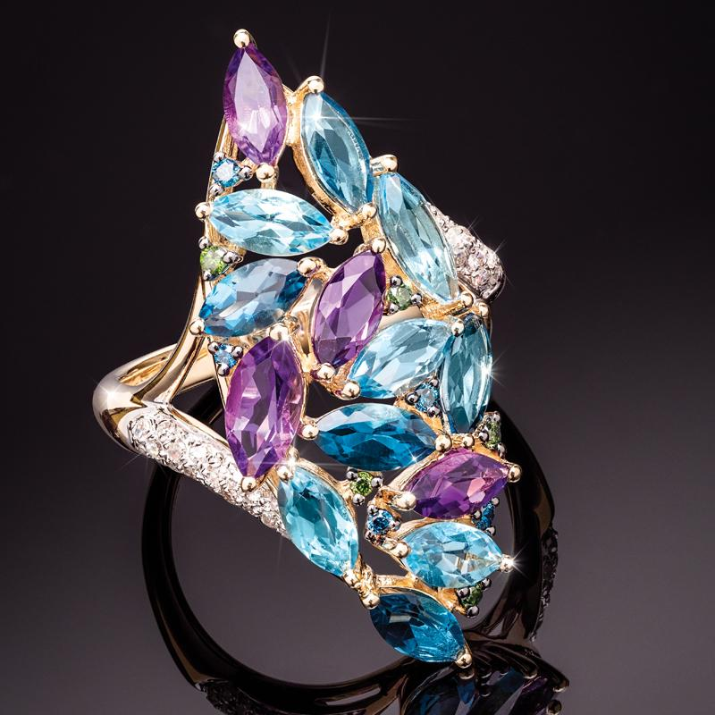 14K Yellow Gold Mixed Gem Marquise Ring