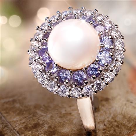 Tanzanite & Pearl Thunderstruck Ring