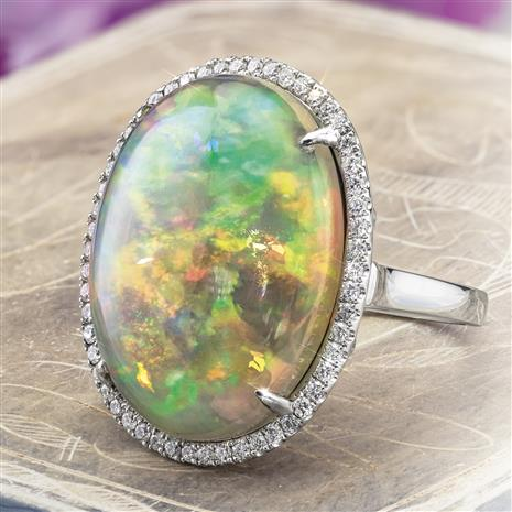 One-of-a-kind 14K White Gold Opal and Diamond Ring