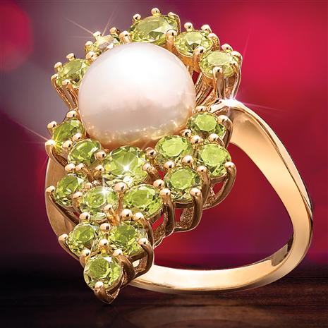 Peridot Chardonnay and Freshwater Pearl Ring