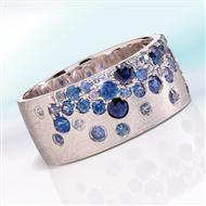 14K White Gold Cool Blue Sapphire Ring
