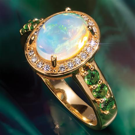 Opal & Helenite Miracle Ring