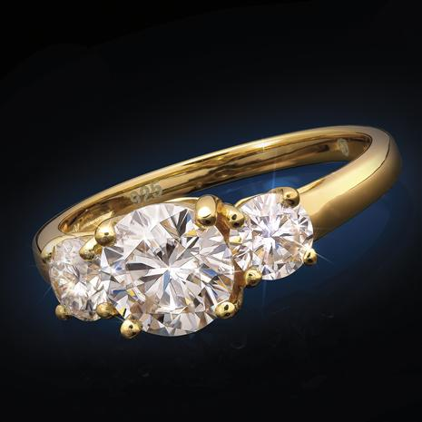 Yellow Gold-Finished Sterling Silver Moissanite 3-Stone Ring (2 ctw)