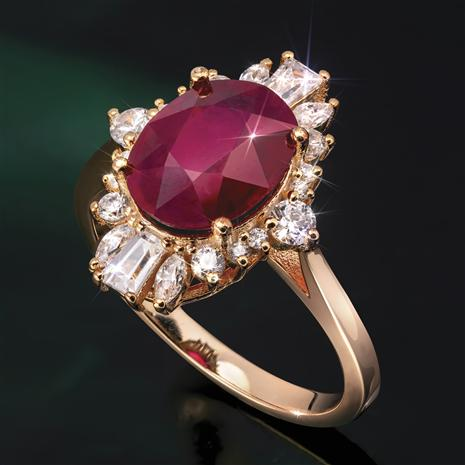 Ruby Sunburst Ring