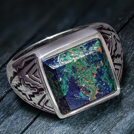 Men's Azurite Portrait Ring